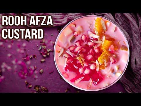 Rooh Afza Custard Recipe | How to Make Fruit Custard at home | Easy Dessert Ideas using Rooh Afza