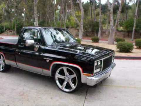 1982 CHEVY C10 SHORTBED SILVERADO MODIFIED 350V8 24 IN IROCS BY MG MOTORING video #4