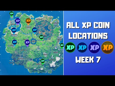 All 10 XP Coins Locations in Fortnite Season 4 Chapter 2 Week 7! (Green, Blue, Purple, and Gold)
