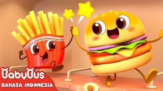 Bayi Panda Kiki Bersama Hamburger & Kentang Goreng | Lagu Anak-anak | Bahasa Indonesia | BabyBus