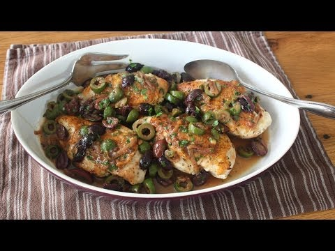 Chicken and Olives Recipe – Chicken Breasts Braised with Olives