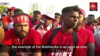 Comrades Sammi of the CPGB-ML speaks to the massive JVP rally on May 1 2017 - International Workers Day - in Columbo,...