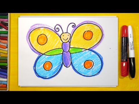 Как нарисовать Бабочку Урок рисования для детей от 3 лет - DomaVideo.Ru