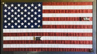 This is a quick video on the basics for making an American Flag out of old fire hose. We used 2 1/2'' hose with 1 3/4''  hose. I hope you enjoy this video and if you have any questions please ask.