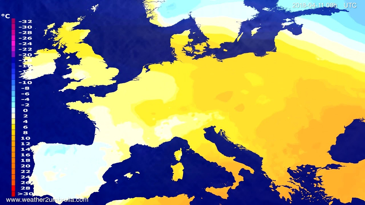 Temperature forecast Europe 2018-04-08