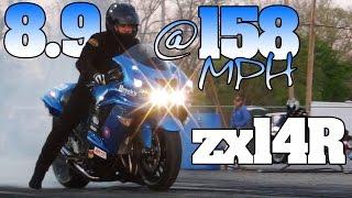 7. 8.9@158mph Kawasaki zx14r Ninja motorcycle drag racing 2012