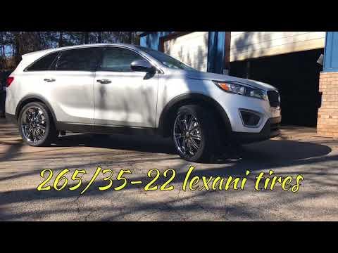 """2018 Kia Sorento Sitting on some chrome 22"""" D-centi Dw29 wheels wrapped in 265/35-22 Lexani tires"""
