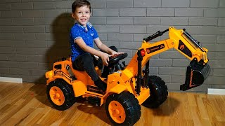 Funny Tema Unboxing Power Wheels Tractor Excavator and play with toys