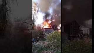Dziemiany. Płonął kompleks drewnianych budynków garażowych