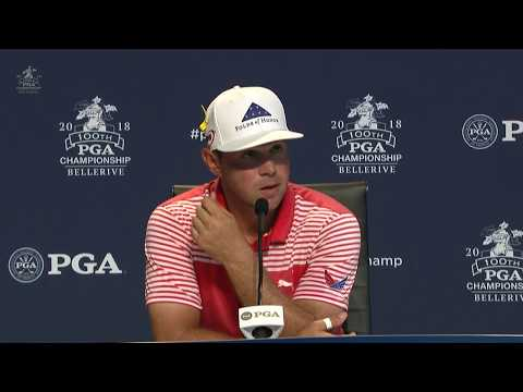 Gary Woodland (-10) reacts to second-round 66 at PGA Championship