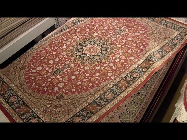センターラグ手織りペルシャ絨毯、高級シルクペルシャじゅうたん150x100