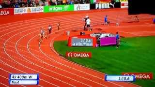 Zurich 2014 Women 4x400 m relay final, incredible victory in the last inches - YouTube