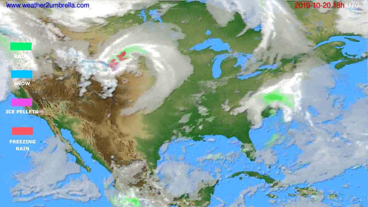 Precipitation forecast USA & Canada // modelrun: 12h UTC 2019-10-18