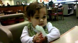 Karen eating at Souper Salad.
