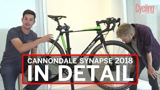 Cannondale Synapse 2018 in Detail  Cycling WeeklyWe've invited George from Cannondale to tell us everything about their new Cannonadale Synapse 2018. What features does it bring compared to the old Synapse? Is the 2018 Cannondale Synapse any lighter or stiffer? Why does it come only with disc brakes? When will be the new Cannondale Synapse in stock in UK, Asia, and the rest of the world?Subscribe to Cycling Weekly here: https://www.youtube.com/user/CyclingWeekly1?sub_confirmation=1Outwardly the new Cannondale Synapse may look very similar to the previous model. However, appearances can be deceptive. The new platform is a completely different bike with a completely different carbon layup and several subtle but significant differences, the main being that the new model will only be available with disc brakes.First launched in 2006 the Cannondale Synapse is a bike known for combining great ride quality, confident handling, relaxed geometry and versatility. With the race-orientated SuperSix Evo, Cannondale places the emphasis on stiffness, low weight and aggressive geometry, whereas with the Synapse the design objectives centre around compliance, a smoother ride, greater integration and increased versatility (the ability to ride on a wider range of surfaces).Within the endurance road bike category, the Cannondale Synapse is a highly regarded machine that has won many awards and fans. It's been around a while with this, the latest version of the Synapse following the original model launched in 2006 and a second iteration in 2014. The new bike features greater integration, but doesn't set its stall out as an aero bike.Read more at http://www.cyclingweekly.com/news/product-news/cannondale-synapse-disc-340096#uqy1wW0xTrizwxSp.99More at:Cycling Weekly: http://www.cyclingweekly.co.uk/Facebook: https://www.facebook.com/CyclingWeeklyInstagram: https://instagram.com/cyclingweeklymagazineGoogle+: https://plus.google.com/103552890268543091591/postsTwitter: http://twitter.com/cyclingweekly