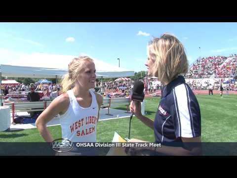 runner - Meghan Vogel (West Liberty Salem HS) had just won the mile (1600m) in 4:58 to become the State Champion for that event. Minutes later, while running the 2 mi...