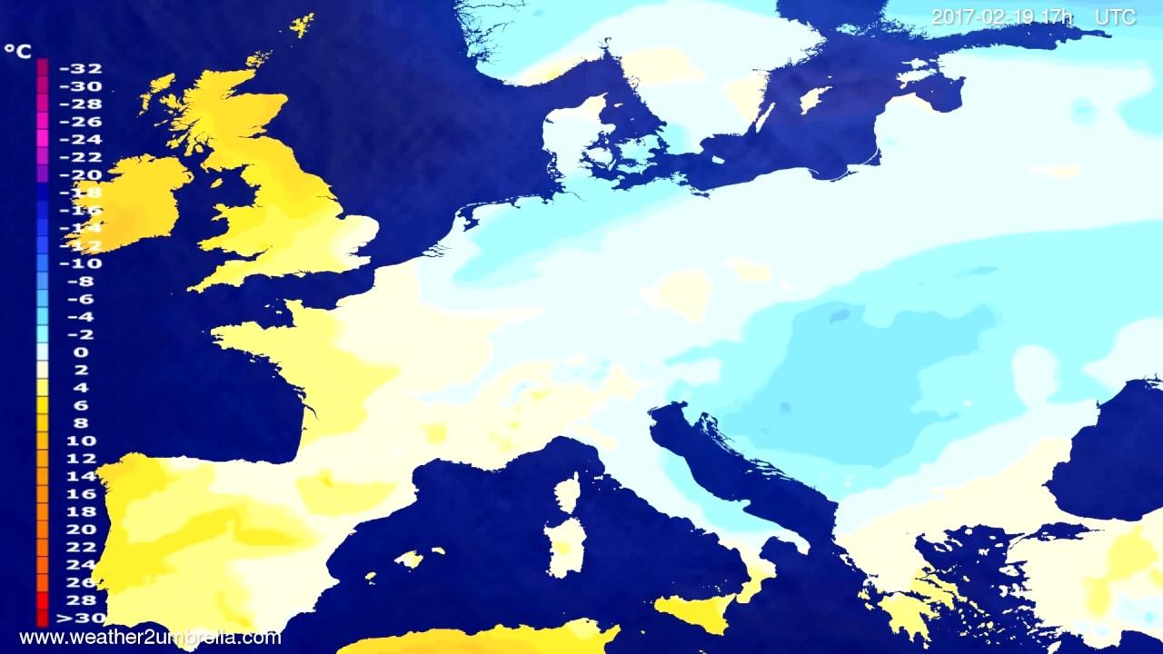 Temperature forecast Europe 2017-02-17