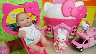 Hello Kitty slide house and Baby doll with camping car toys play
