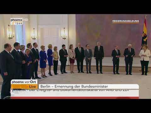 Ernennung der Bundesminister durch BundesprГsident Frank-Walter Steinmeier am 14.03.18
