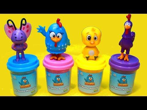 Vídeos engraçados - Galinha Pintadinha Massinha Play-Doh Pintinho Amarelinho Brinquedos Surpresas Galinheiro