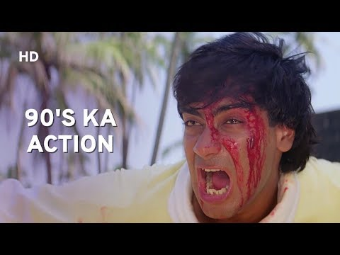 90's Action Scene   Gym Fight   Ajay Devgn   Raveena Tandon   Ek Hi Raasta   Hindi Action Movie