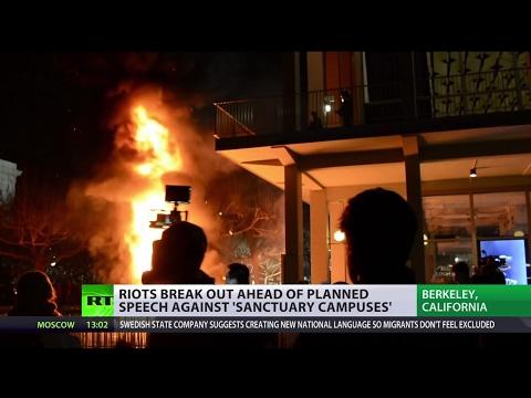 'US media create hysteria': Protesters crash UC Berkeley to prevent Breitbart News editor's speech