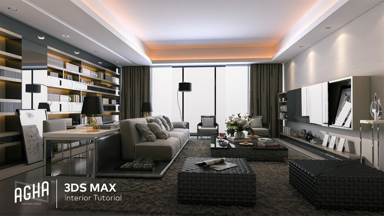 video/modeling living room 3ds max tutorial