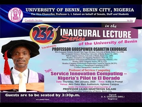 Watch Live: 232nd Inaugural Lecture Series