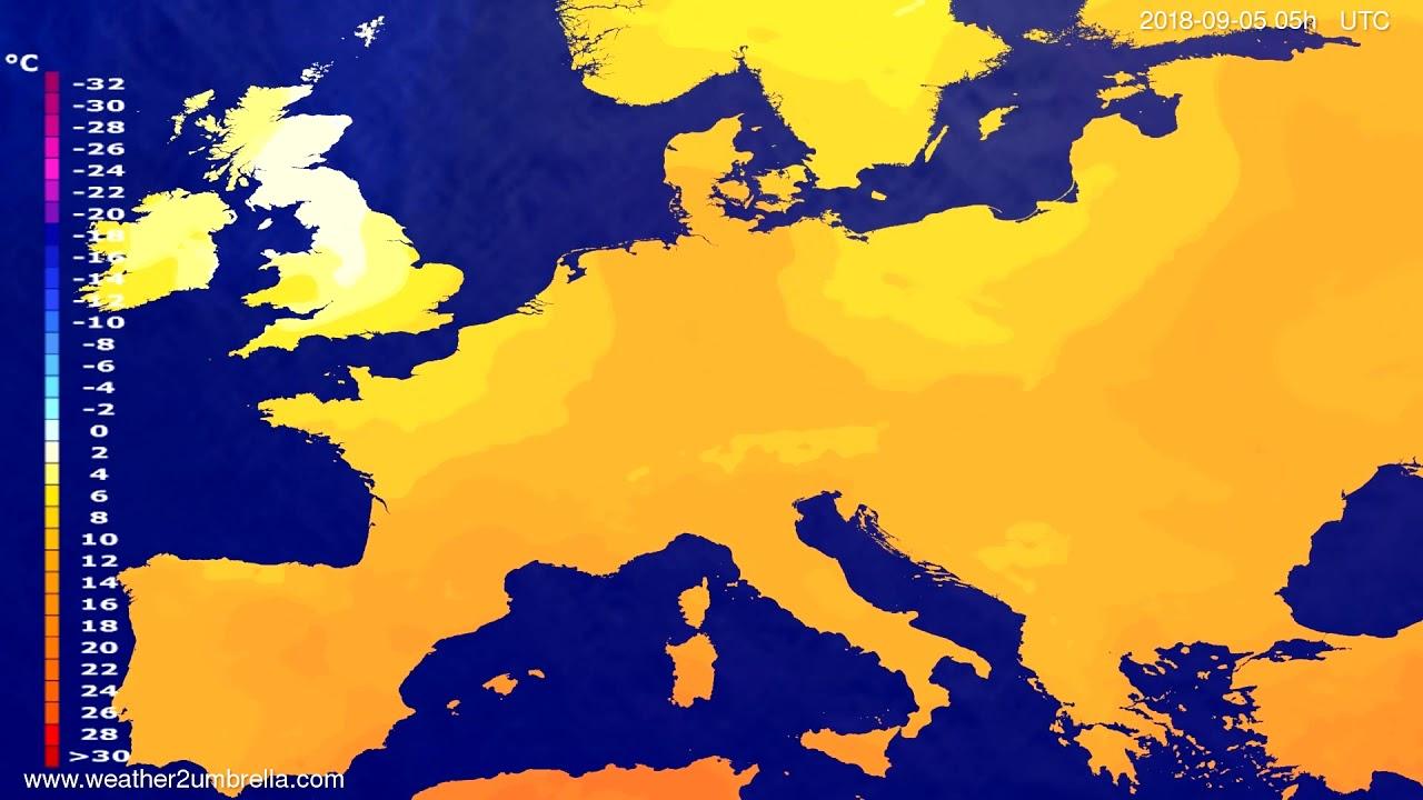 Temperature forecast Europe 2018-09-02