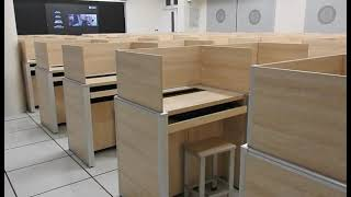 study cubicle carrel lifting hidden screen computer desk language lab desk library table furniture youtube video