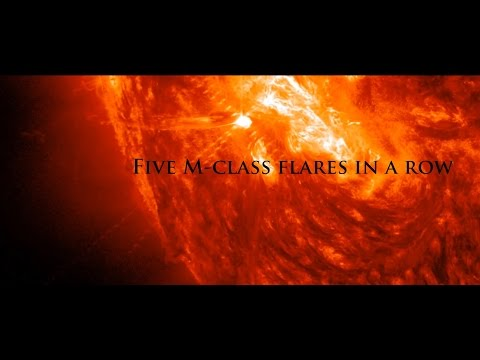 Earth - After the X1.1 flare a day ago, the same area: Active Region 12192 , has now produced FIVE back to back M-class flares. Watch the X-class flare from October 19, 2014 here: https://www.youtube.com...