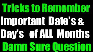 Trick to learn important Day's & Date's of all Months   Static G.K Tricks