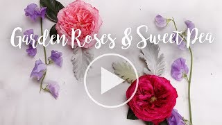 Garden Roses & Sweet Pea Arrangement