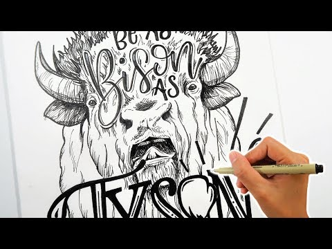 Funny quotes - Bison Drawing  Hand lettering  Funny Quote