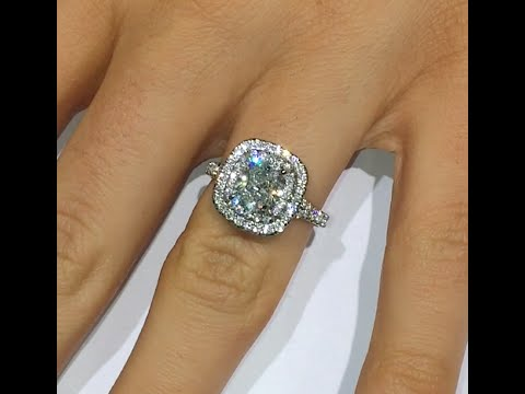 2 ct Cushion cut Diamond Engagement Ring in Double Halo