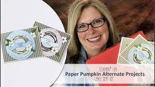 """Enter giveaway, Free PDF and more info on Paper Pumpkin: http://stampwithtami.com/blog/2017/06/paper-pumpkin-may-2017 I sure did have fun playing with this Paper Pumpkin kit. I was inspired by Lori Mueller, who had the idea to add the Swirly Scribbles die cut to the circle.  I cut the die in Gold Foil card stock, and layered over a Tea Lace doily. The used the leaf die from the same die set in Old Olive. The """"for you"""" was cut from the Bunch of Banners dies.Be sure to join my social media Tami WhiteStampin' Up! Independent Demonstrator✪ STAY CONNECTED ✪Blog: http://www.stampwithtami.com Facebook: http://www.facebook.com/stampwithtami1 Pinterest: http://www.pinterest.com/stampwithtamiPeriscope: https://periscope.tv/stampwithtamiTwitter: http://twitter.com/stampwithtami Weekly Newsletter: http://ow.ly/Vp8eb Bloglovin: https://www.bloglovin.com/blogs/stamp-with-tami-3137650"""