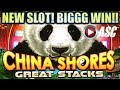 ★FIRST LOOK! BIG WIN!!★ NEW CHINA SHORES GREAT STACKS (Konami) Slot Machine Bonus
