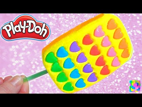 Play Doh. Sparkle Rainbow Heart Ice Cream Popsicle. Learn Colors. DIY Play Doh Food. Funny learning