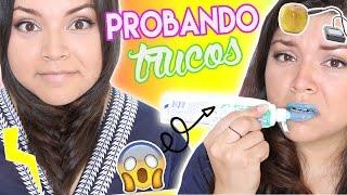 ♥ SUSCRÍBETE!! http://goo.gl/Fqx8Dk ♥ Canal de Vlogs: https://www.youtube.com/AngieVlogs Hola! Hoy PROBAMOS los TRUCOS MÁS RAROS de INTERNET!!! Usar un globo...