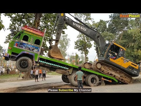 Amazing Video ! Volvo Excavator Loading In Truck and Unloading By Experience Driver - Full Video