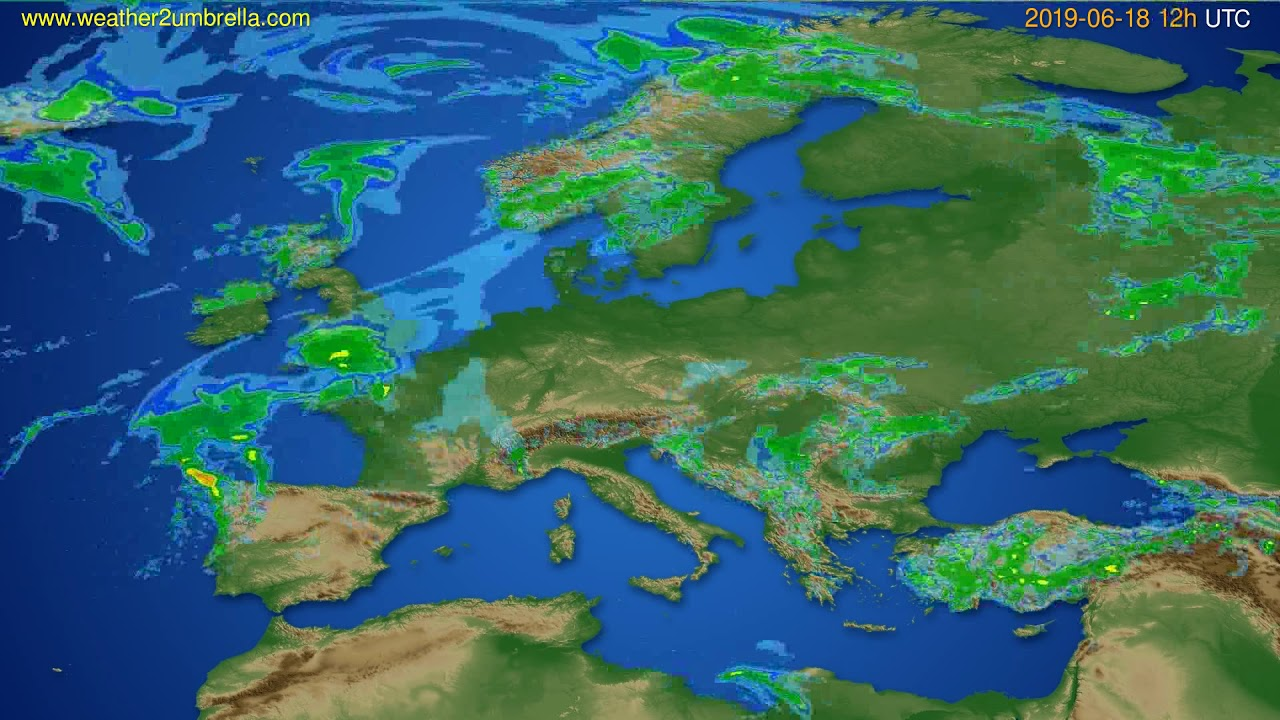 Radar forecast Europe // modelrun: 00h UTC 2019-06-18