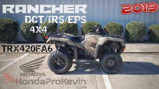 5. 2019 Honda Rancher 420 DCT / IRS / EPS 4x4 ATV Walk-Around Video | TRX420FA6 FourTrax Phantom Camo
