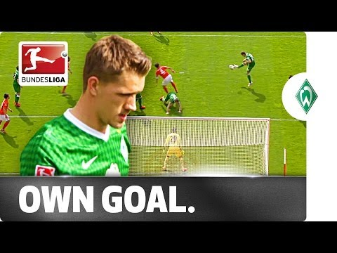 goal - Werder Bremen's Nils Petersen scored a beautiful, unstoppable and bizarre own goal during Bremen's game against 1. FSV Mainz 05, before his side went on to l...