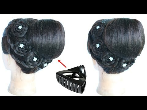 Hairstyles for short hair - most beautiful juda hairstyle with using clutcher for special occasion  braided hairstyles  juda