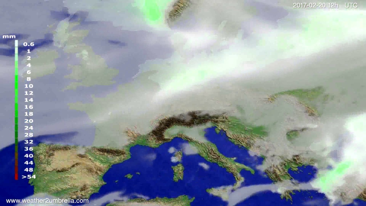 Precipitation forecast Europe 2017-02-18