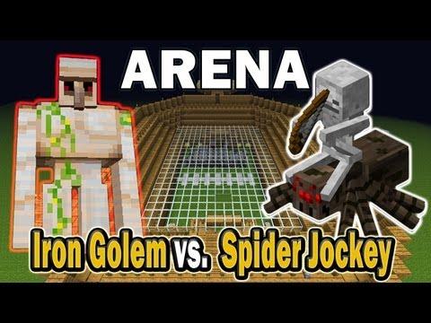 Minecraft Arena Battle Iron Golem vs. Spider Jockey