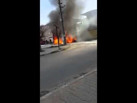 Milas'ta lüks otomobil yandı