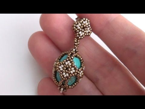 Beaded earrings made using Seed beads and turquoise pearls