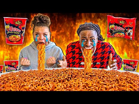 NUCLEAR FIRE NOODLES CHALLENGE! 2X SPICY | WE CRIED