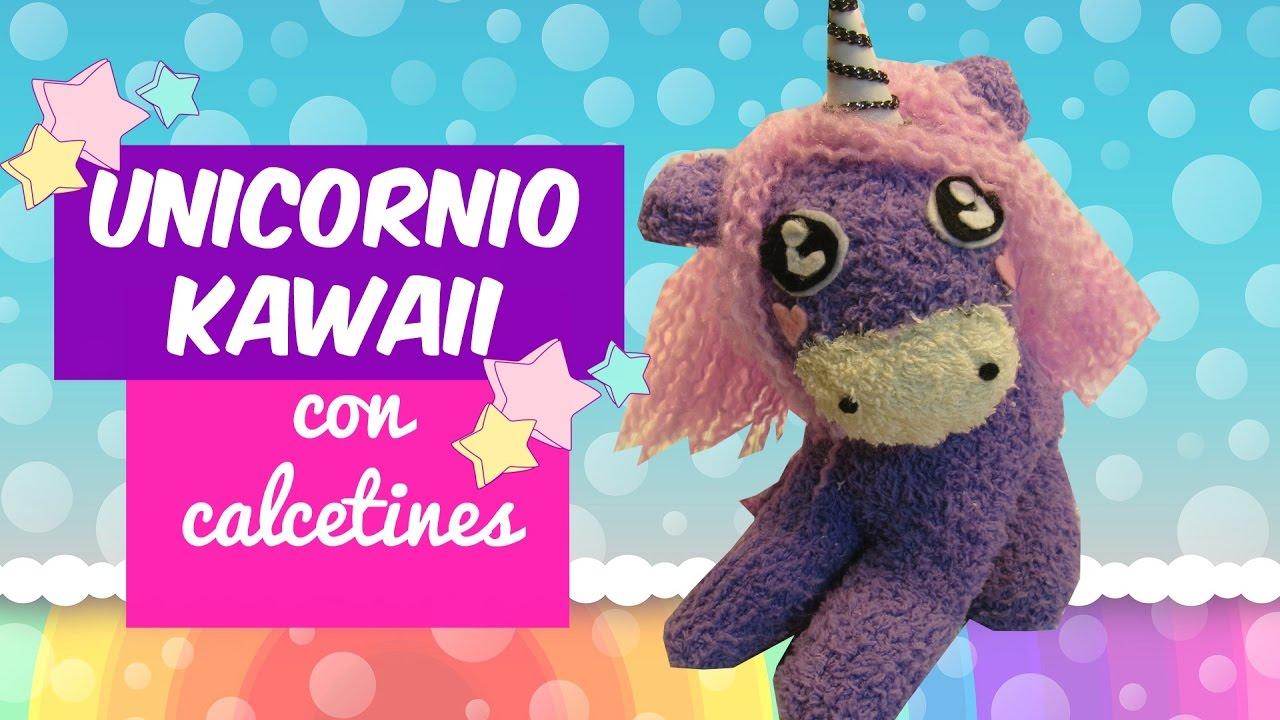 Unicornio kawaii con calcetines   Manualidades